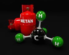 3D illustration molecule of Gas Methane on a black background Stock Illustration
