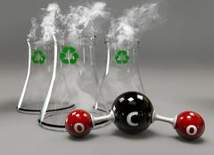 3D Illustrator co2 molecule with chimney on gray background. Stock Illustration