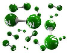 3D Illustrator molecule of Nitrogen on a white background Stock Illustration