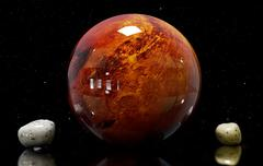 3d illustration of Mars of moons and star. Elements of this image furnished b Stock Illustration