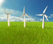 3d illustrator of windmill on the sky Stock Illustration