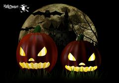 Halloween Party Background with Pumpkins in the Grass Bats and Moon in the Ba Piirros