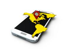 3d aplication America GPS-map on the white background Stock Illustration