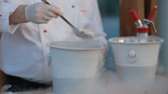 Cook impose nitrogen icecream Stock Footage