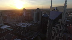 Rising High Over Nashville Skyline as Sun Sets Stock Footage