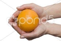 Orange in the hands Stock Photos