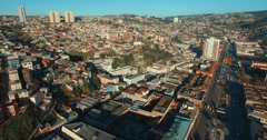 Valparaiso's Aereal View, Chile Stock Footage