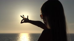 4K Girl Silhouette Playing on Beach, Sunset View of Child Hand in Sun Rays, Beam Stock Footage