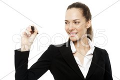 Young businesswoman holding a marking pen on white background studio Stock Photos