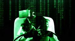 Virtual matrix girl chroma movie scared Stock Footage