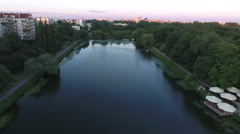 Rising High Over Warsaw Poland Suburbs at Dusk Stock Footage