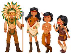 Group of native american indians in costume Stock Illustration