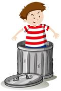 Boy in trashcan alone Stock Illustration