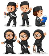 Muslim boy and girl in black costume Stock Illustration