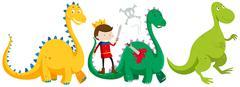 Prince fighting and killing dragons Stock Illustration