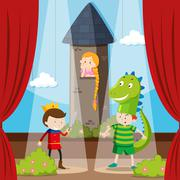 Kids doing role play on stage Stock Illustration