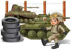Soldier and military tanks Stock Illustration