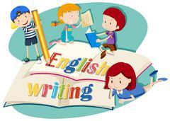 Kids working on english writing Stock Illustration