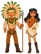 Two native american indians in costume Stock Illustration