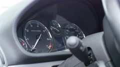 Car dashboard and speedometer details close-up slow tilt 4K 2160p UltraHD foo Stock Footage