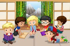 Many children reading in room Stock Illustration