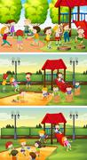 Many children playing in the playground Stock Illustration