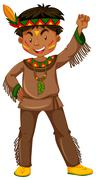 American indian boy in traditional clothes Stock Illustration