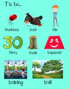 Many words begin with letter T Stock Illustration