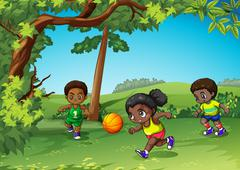 Three kids playing ball in the park Stock Illustration