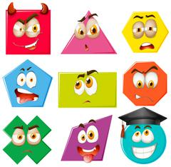 Different shapes with facial expressions Stock Illustration