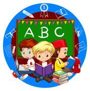 Boys reading books together Stock Illustration