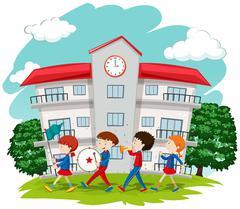 Children in school band at school Stock Illustration