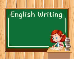 Girl writing in English class Stock Illustration
