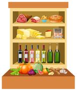 Different kind of food on the shelves Stock Illustration