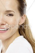 Portrait of a young woman on white background studio Stock Photos