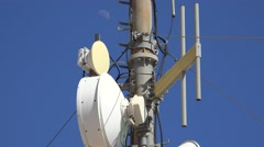 Cell Phone Tower And Moon Stock Footage