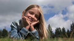 4K Girl Portrait Smiling, Playing in Park, Happy Child Face Looking in Camera Stock Footage