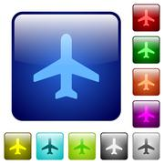 Color airplane square buttons Stock Illustration