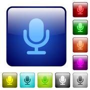 Color microphone square buttons Stock Illustration