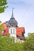 House with tower in bavaria Stock Photos