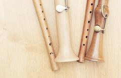 Variation of wooden recorders Stock Photos