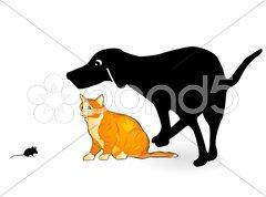 Hund, Katze und Maus Stock Photos