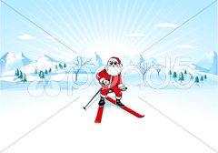 Weihnachtsmann auf Skiern Stock Photos