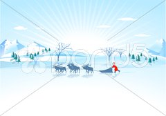 Weihnachtsmann mit Schlitten Stock Photos