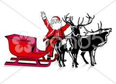 Weihnachtsmann und Schlitten Stock Photos
