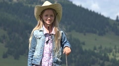 4K Cowboy Farmer Girl with Sheep in Mountains, Child Portrait Pasturing Animals Stock Footage