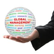 Hand take white ball with red inscription global marketing Stock Photos