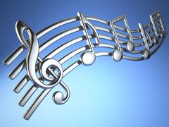 Silver music notes and treble clef on musical strings on blue background. Stock Illustration