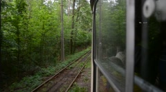 Moving tram in nature Stock Footage