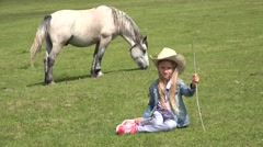 4K Portrait Farmer Cowboy Girl Smiling in Camera, Child Playing with Animals Stock Footage